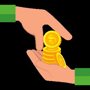 Mãos segurando moedas