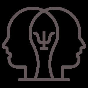 Símbolo da psicologia entre perfis de rosto