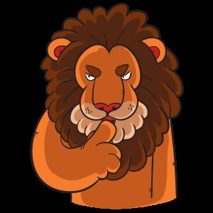 Leão da receita federal fazendo gesto de silencio