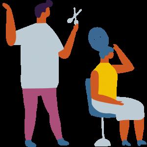 Cabeleireiro cortando cabelo da cliente