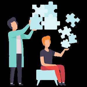 Ilustração psicologo com paciente e quabra-cabeça